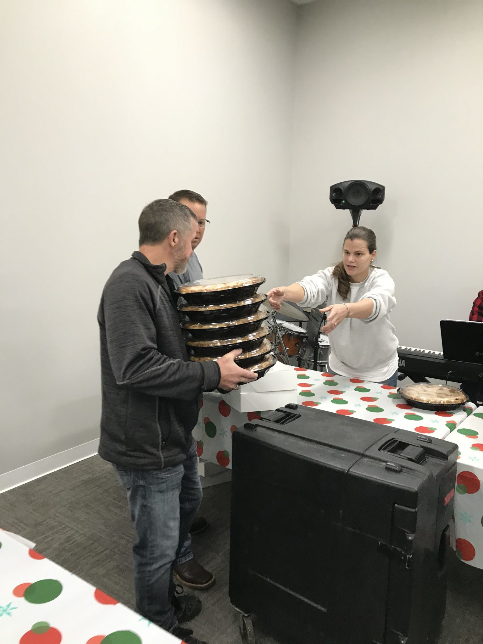 serving food at SONTX 2019 Christmas Party - Solutions of North Texas - Denton County substance abuse counseling