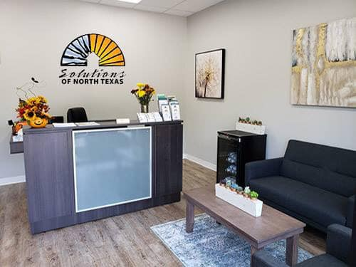 stylish front office of SONTX - Solutions of North Texas - Denton County Substance Abuse Counseling - Sober Living DFW