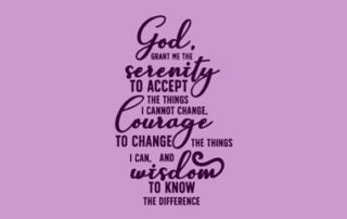 The Serenity Prayer in script on purple background