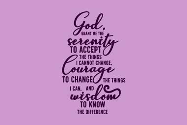 The Serenity Prayer in script on purple background