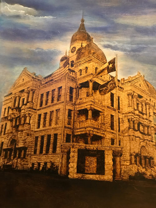 artwork of Denton County Courthouse by Jeremy Sale - Art of the Quarter - SONTX